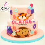 2 Tier Fondant Cake with 2D Tiger, Hippo, Monkey and balloons.