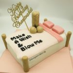 Adult Cake - Make a Wish and Blow Me Penis Cake on Bed with Customized Name Cake Topper