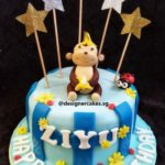 Blue Stripes Fondant Cake with Monkey and Banana and Glitter Silver and Gold Star Topper