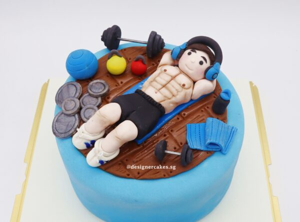 Cakes For Him - Gym Themed - Dumbbells, Kettle bells, Yoga Ball, Weights, Sexy Muscular 6 Pack Abs Man Exercising.