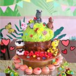 Customized Animals Giant Cup Cake Cake with Macarons and Mini Cup Cakes Tower