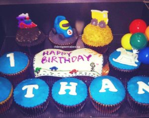 Customized Vechicles Themed Cup Cakes, Kids Drawing, Cars and Balloons.