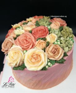 Flower Cakes - Korean butter cream flower style with customized name cake topper.