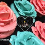 Flower Cup Cakes - Piped Butter Cream Roses, Pink & Turquoise.