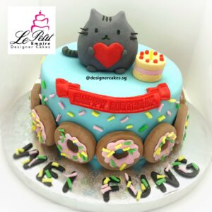 Fondant Cat Cake with Mini Cake and surrounded with Donuts.