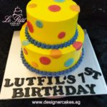Yellow Cake with Colorful Polka Dots.