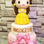 2 tier customized cake + Princess Belle Toy Topper