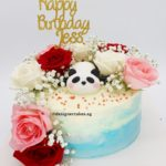 White & Blue Marbled Cream Cake with Fresh Flowers, Roses and Baby Breathe and Fondant Panda Topper and Customized Name Topper.