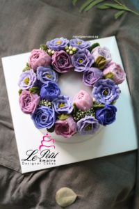 Korean Butter Cream Flower Cake - Wreath Style, Lisianthus and Peony.
