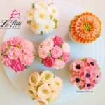 Korean Butter Cream Flower Cup Cake - Scabioba, Anemone, Daisy, Ranunculus Rose, Victorian Rose and Carnation.