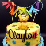 Lion Fondant Cake with Stars, Banner and Customized Name Topper.
