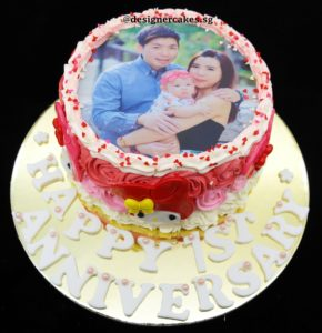Photo Cakes - Customized Photo, Pink Rosette with Heart Sprinkles, Anniversary Cake