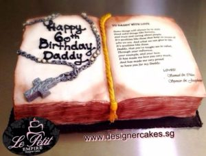 Religious Cake - Christian Cross Pendant Necklace on Bible Book with Personalize Message and Signature - 3D Customized Fondant Cake