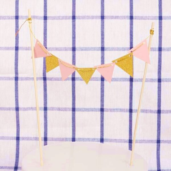 Cake Decorating Supplies - Banner Cake Topper - Pink Gold