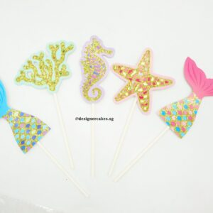 Mermaid Cake Topper - Tail, Corals, Seahorse, Starfish (Glitter Gold & Colors) - Cake Decorating Supplies - Cake Toppers