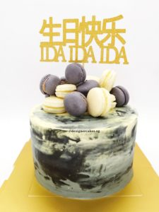 Money Pulling Cake 拉钱蛋糕 - Marbled Black with Macarons