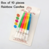 Pack of 10 Neon Rainbow Candles